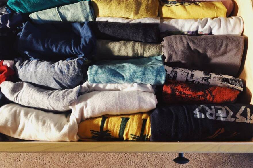 Emma Walters' T-shirt drawer after organizing.