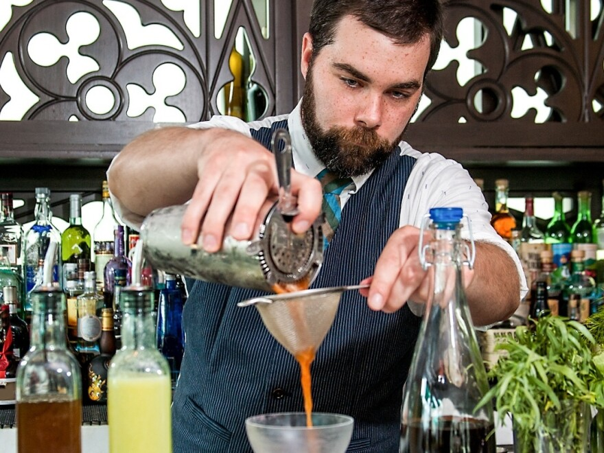 """Bartender Chad Phillips developed the """"Beet Me in St. Louis"""" cocktail for his fiance on her first Mother's Day."""