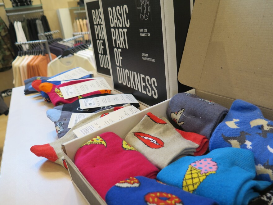 Socks are among the products sold at Kiev's Vsi.Svoi.