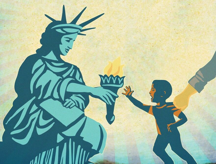 Lights for Liberty poster shows a little boy reaching towards the Statue of Liberty while being pulled away by a hand.