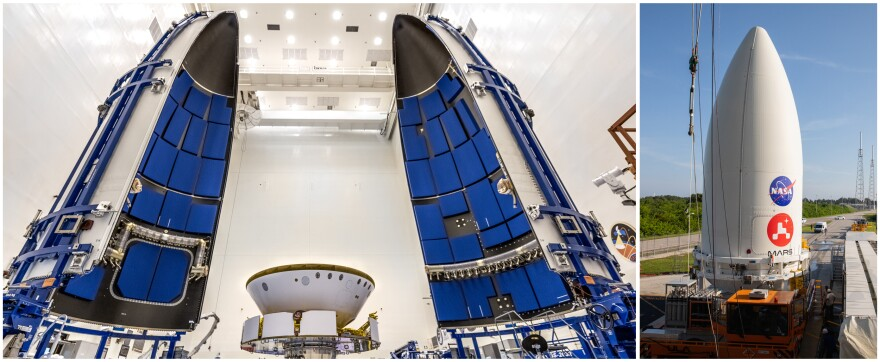 Left: NASA's Perseverance rover gets prepared for encapsulation in the Atlas V rocket's payload fairing (nose cone) at Kennedy Space Center in Florida on June 18. Right: On July 7, the payload fairing containing the rover sits atop the motorized payload transporter that will carry it to Space Launch Complex 41 at Cape Canaveral, Florida.
