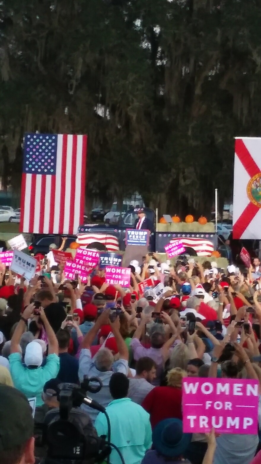 Donald Trump takes the stage at a late afternoon rally outside of the Tallahassee Automobile Museum.