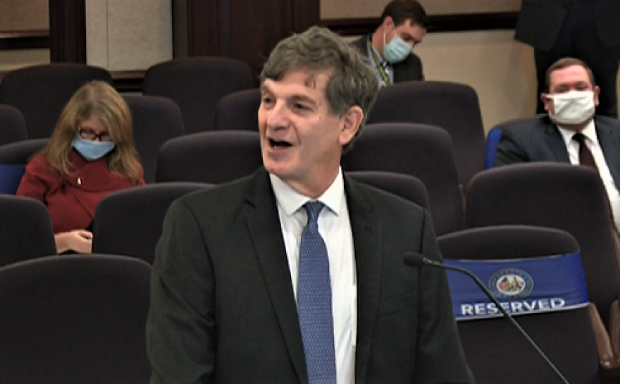 In this video capture from The Florida Channel, state Surgeon General Scott Rivkees speaks before a Florida Senate committee on Jan. 14, 2021.
