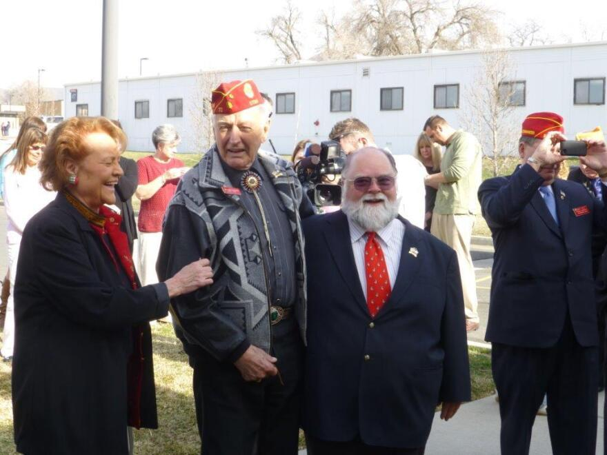 A photo of Christofferson with his wife Elaine and Schow at the renaming of the Salt Lake Veterans Home after him, 2013.