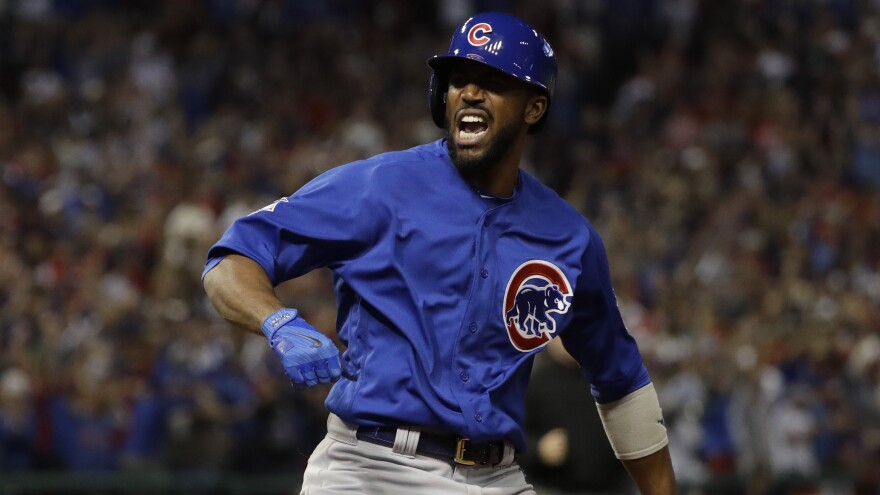Chicago's Dexter Fowler reacts after leading off the first inning with a home run off Indians starter Corey Kluber.