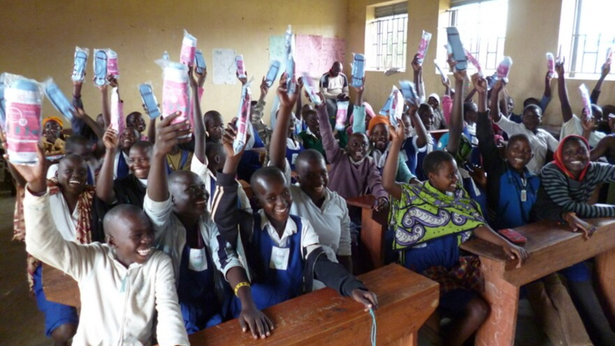 Afripads, handed out in a kit that includes a carrying case, are credited with making girls feel comfortable coming to school when they have their period.