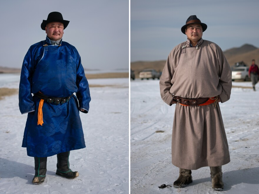 Left: Burenbat Dorj, 44, plays a dozen times every winter. He is the governor of Erdenebulgan Soum, the local community hosting the competition. Right: Gurvantamir Jamts, 47, is new to the game and proud of its local roots in Arkhangai province. He is the mayor of Arkhangai's capital, Tsetserleg.