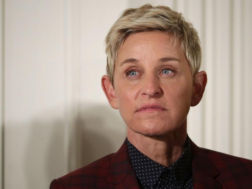 Ellen DeGeneres at the 2016 White House ceremony at which President Barack Obama awarded her the Presidential Medal of Freedom.