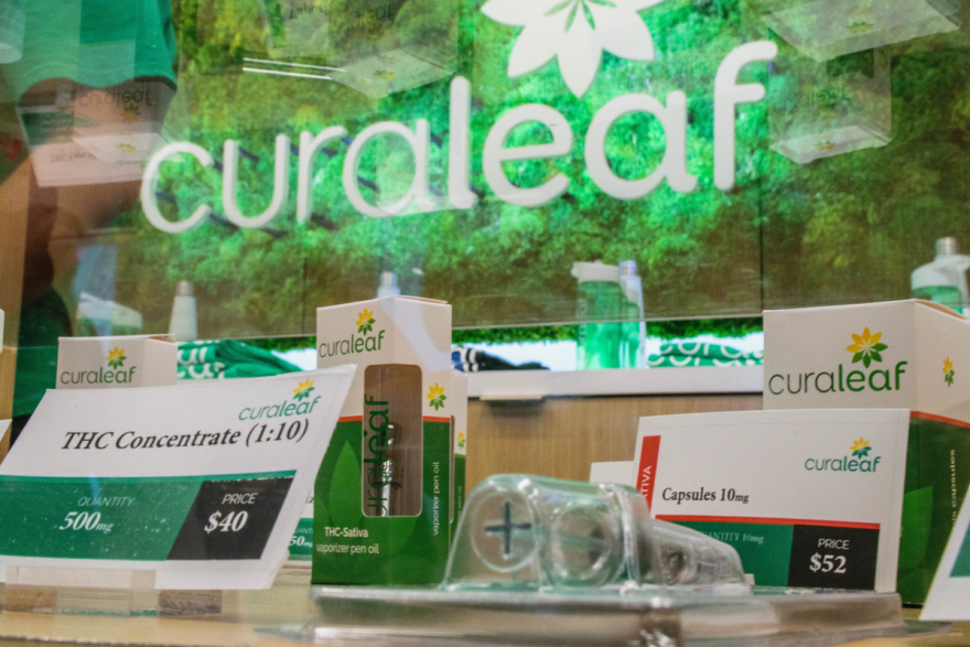 Cannabis products on display at the Curaleaf medical marijuana dispensary in Fort Myers.