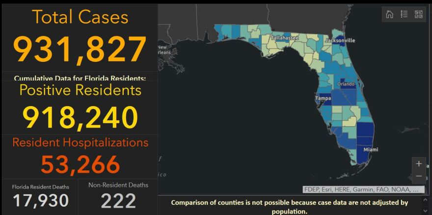 The Florida Dept. of Health reported 8,410 people tested positive for COVID-19 statewide since Friday.