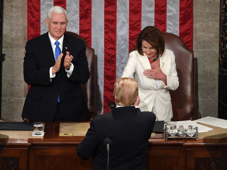 "In his State of the Union address last year, President Trump warned House Democrats, led by Speaker Nancy Pelosi, that ""if there is going to be peace and legislation, there cannot be war and investigation."""