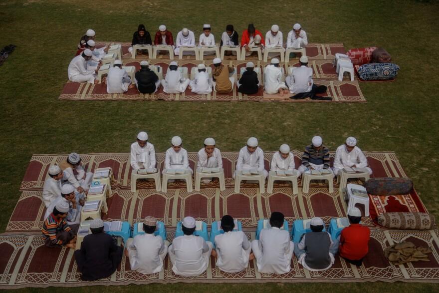 Students sit in class at Jamia Muhammadia, a madrassa in the Pakistani capital Islamabad.