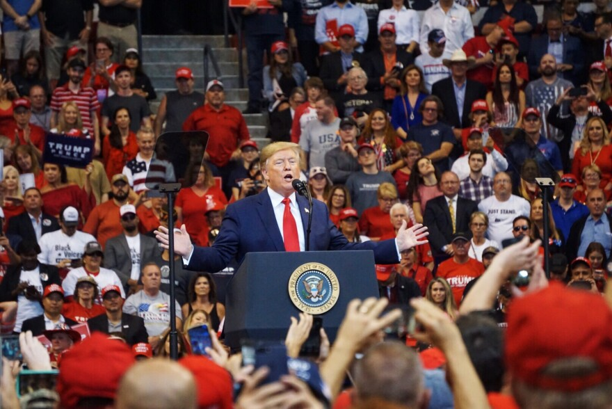 President Donald Trump held a rally with more than 10,000 supporters Tuesday at the BB&T Center in Sunrise.