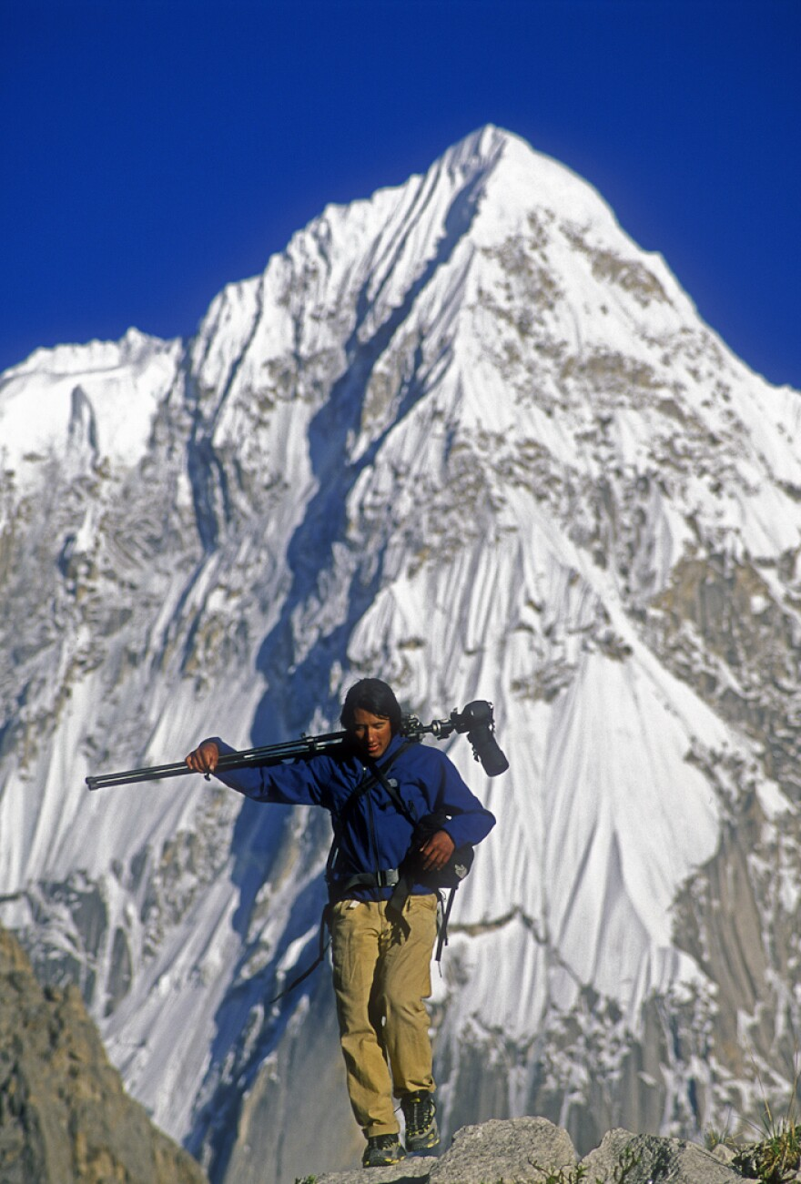 Photographer Jimmy Chin on assignment in the Karakoram mountains of Pakistan.