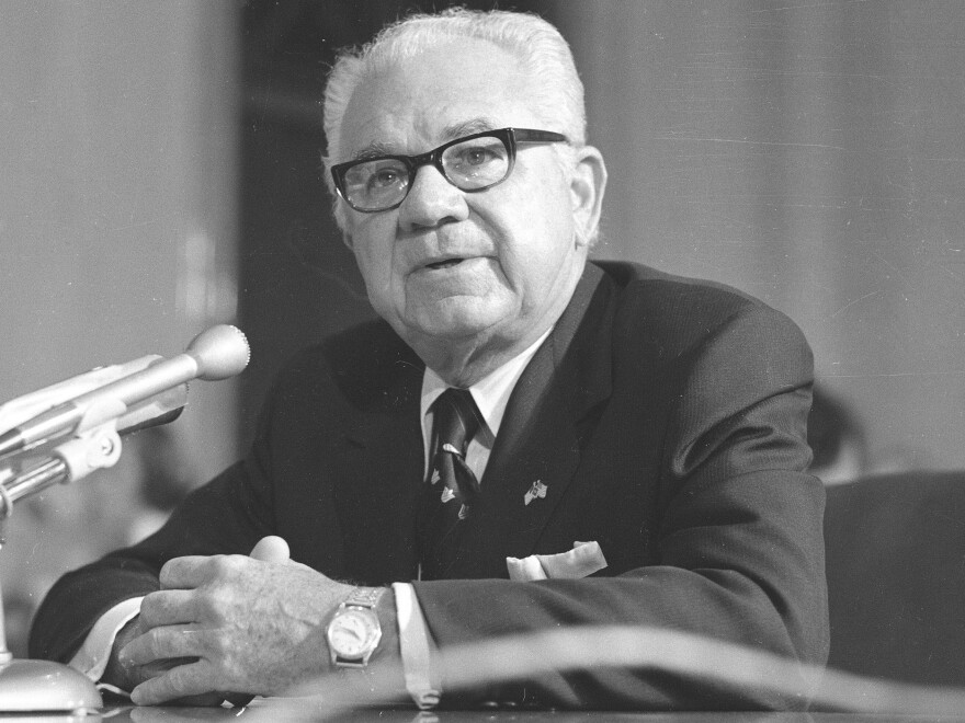 """Houston attorney Leon Jaworski spoke with newsmen after being named Watergate special prosecutor on Nov. 1, 1973. His long-secret """"road map"""" may soon become public."""