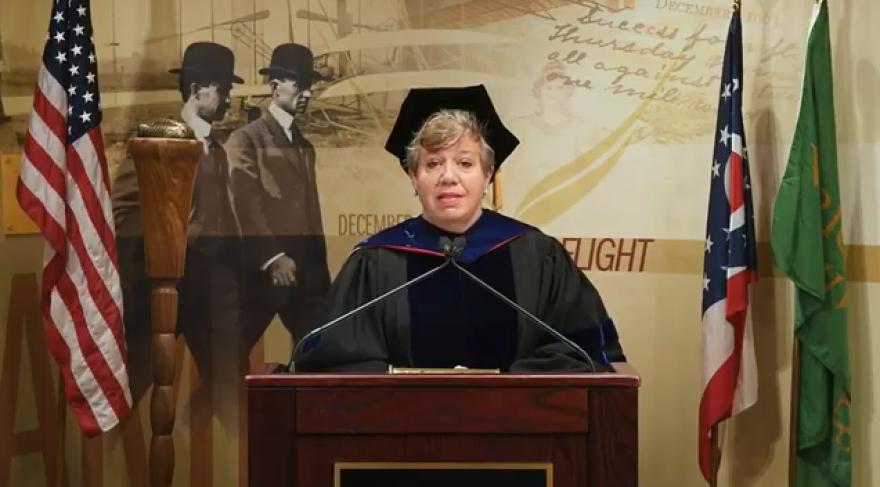 Professor Laura Lehrman addressed Wright State graduates.