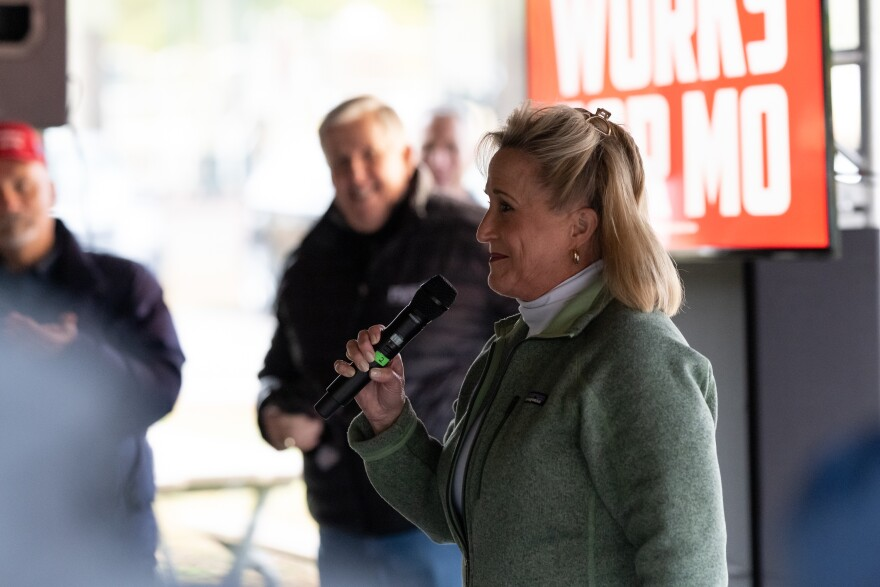 Missouri Congresswoman Ann Wagner endorses fellow Republican Mike Parson for governor on Tuesday, Oct. 27, 2020, at Arnold City Park in Arnold. Wagner faces Democrat Jill Schupp in the 2nd Congressional District race on Election Day.