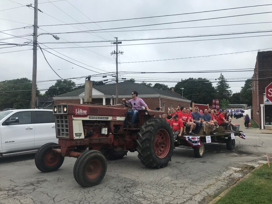 a photo of Frank LaRose driving a tractor