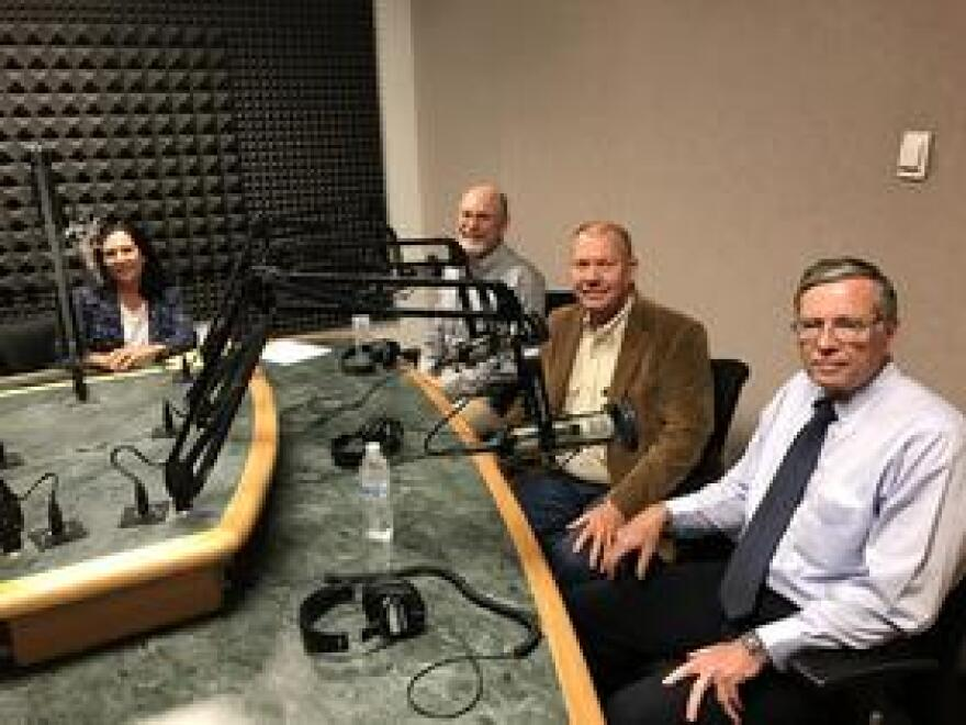 Florida Matters' Robin Sussingham (left); Tip Fowler, CEO of JDC Phosphate; Bill Lambert, Hardee County Economic Development Director; Dr. Steven Richardson, Reclamation Research Director with the Florida Industrial and Phosphate Research Institute.