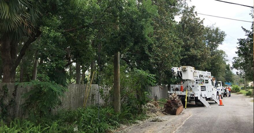 A JEA crew works on power restoration in the Egrets Bluee area after Hurricane Irma.