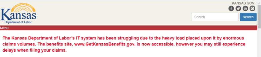 The Kansas Department of Labor website has been overloaded by jobless benefit requests. (Screen capture from the website)