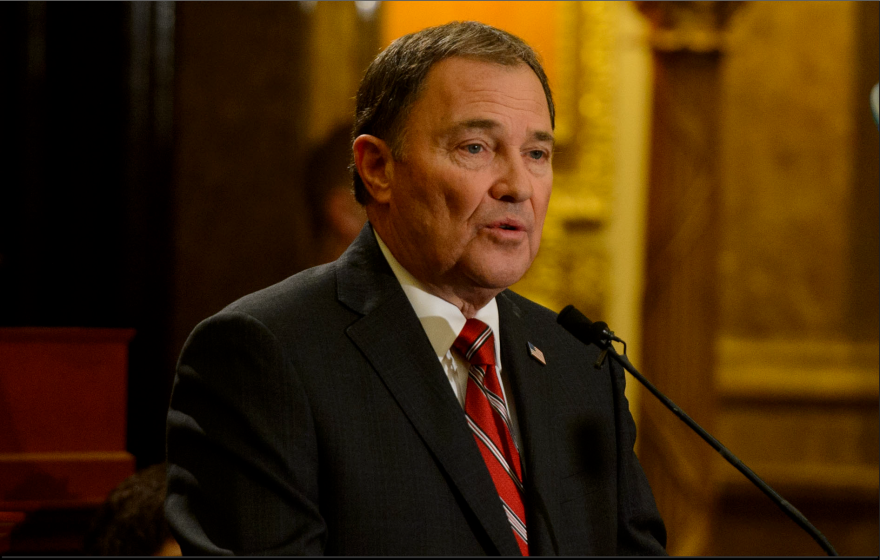 Photo of Utah Governor Gary Herbert speaking into a microphone
