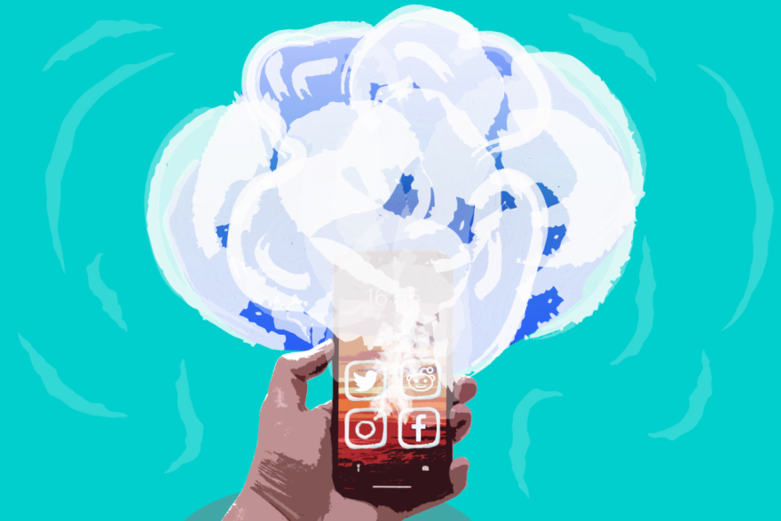 Illustration of a cell phone with smoke coming out of it