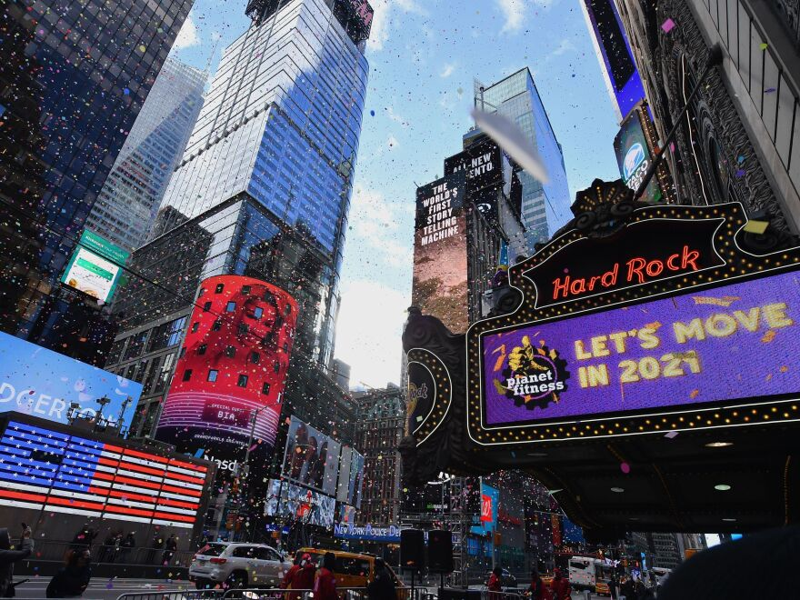 New York City's Times Square on Thursday. The city's traditional New Year's Eve event will not be open to the public this year as the coronavirus continues to spread.
