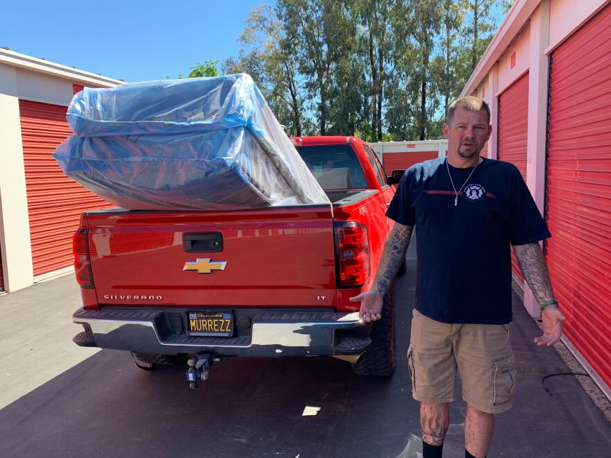 Stephen Murray gets ready to unload donated mattresses for Camp Fire survivors.