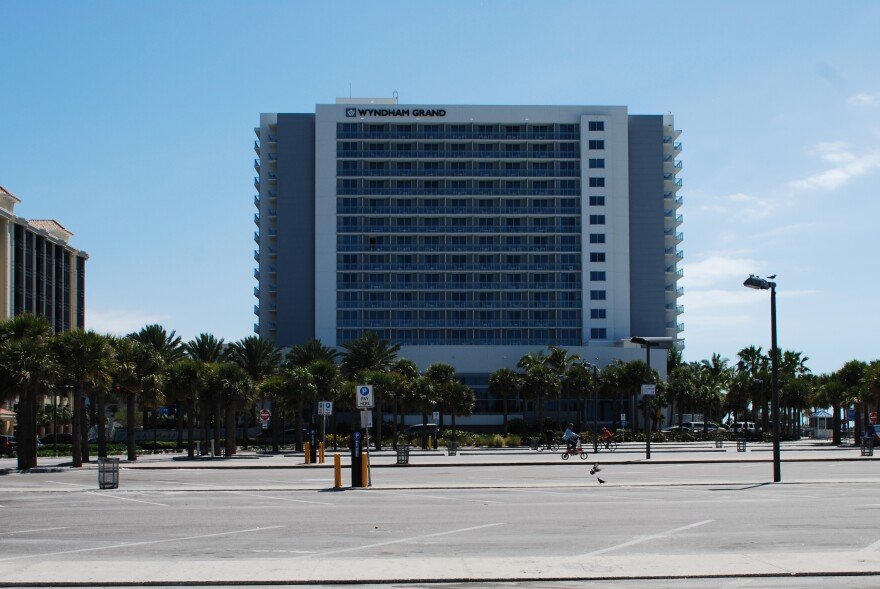 The Wydham Hotel in Clearwater Beach sits behind an empty parking lot. Hotels around the Tampa Bay area have become ghost towns with tourism rates plummeting during the coronavirus outbreak.