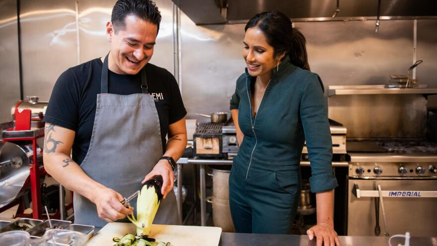 "In an episode called ""Burritos at the Border,"" Padma Lakshmi cooks with first generation Mexican American restaurant owner Emiliano Marentes."