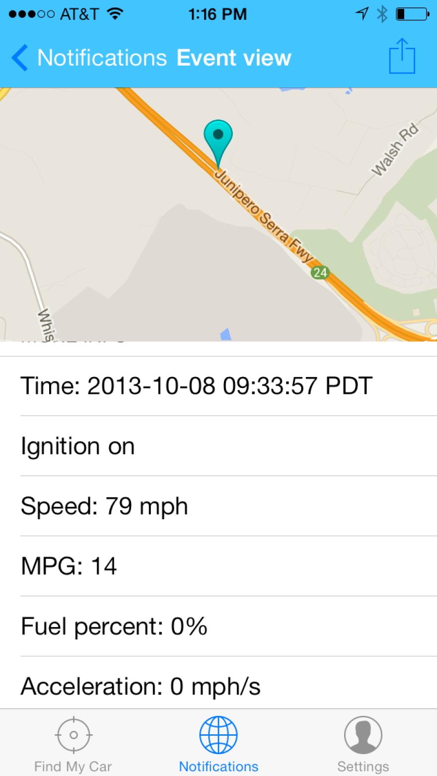 The Drive Pulse app shows details of driving data for NPR's Steve Henn.