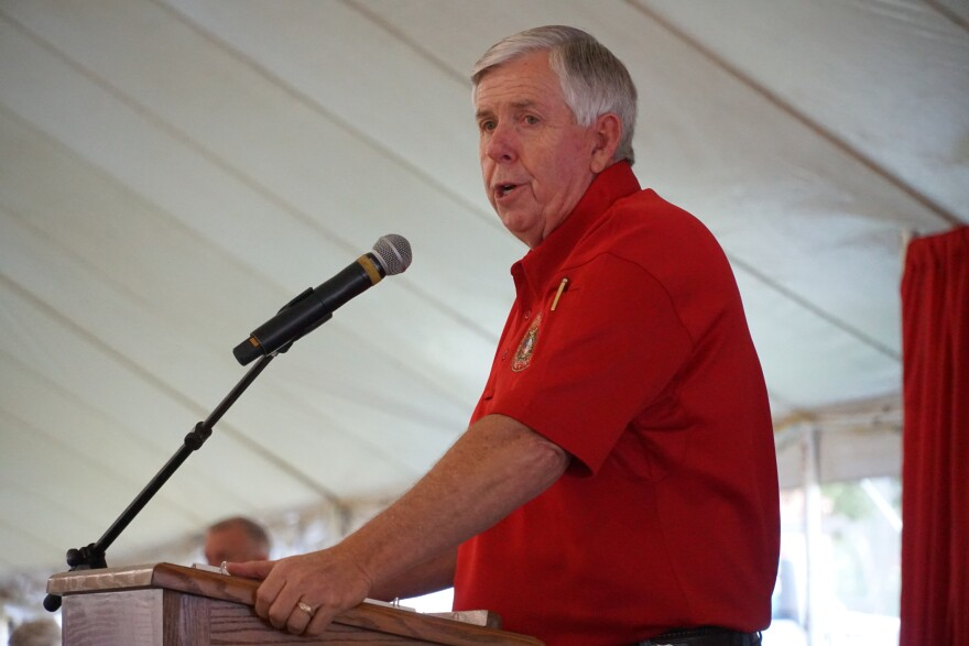 Gov. Mike Parson talks to a crowd of supporters about the importance of agriculture at the Missouri State Fair on Aug. 15, 2019.