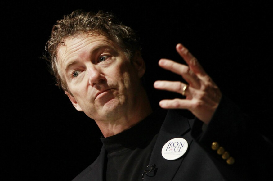 Sen. Rand Paul campaigns for his father at Windham High School in Windham, N.H. on Jan. 7, 2012.