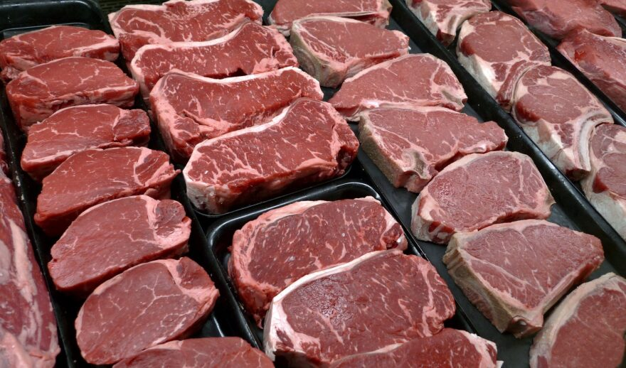 Steaks and other beef products are displayed for sale at a grocery store in McLean, Va. (J. Scott Applewhite/AP)
