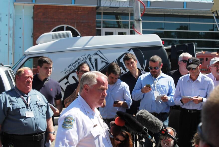 Ferguson police chief Tom Jackson at the microphone