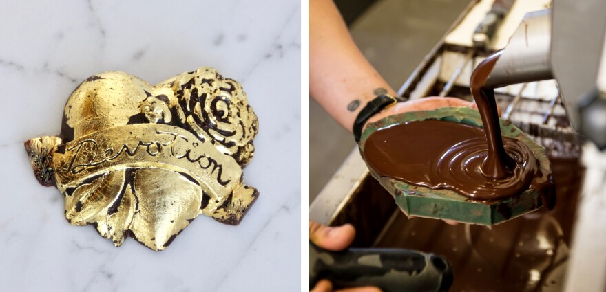 Alma Chocolate in Portland, Ore., sells a line of edible gold-leaf icons modeled after spiritual iconography.