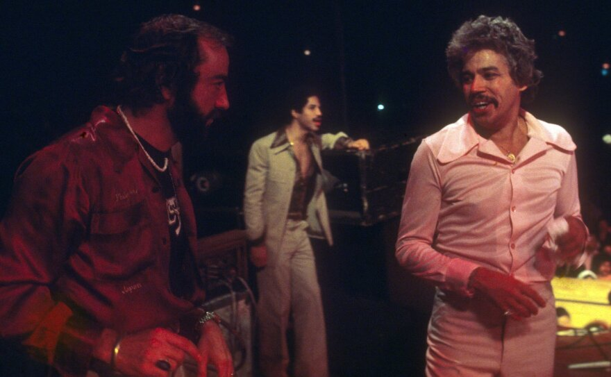 Fania Records co-founders Jerry Masucci (left) and Johnny Pacheco (right)