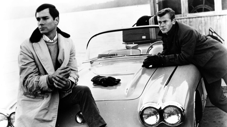 George Maharis (left) played Buz Murdock alongside Martin Milner as Tod Stiles in <em>Route 66</em>, two men driving across America in search of home.