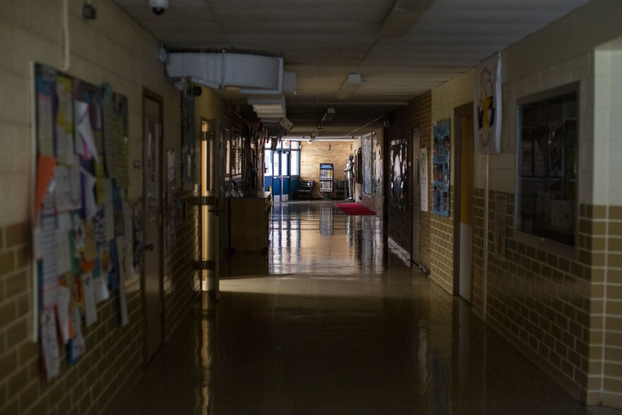 The empty hallway at Dawson Elementary