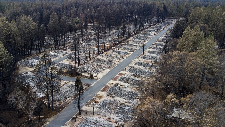 Homes leveled by the Camp Fire line the Ridgewood Mobile Home Park retirement community in Paradise, Calif., seen last December.