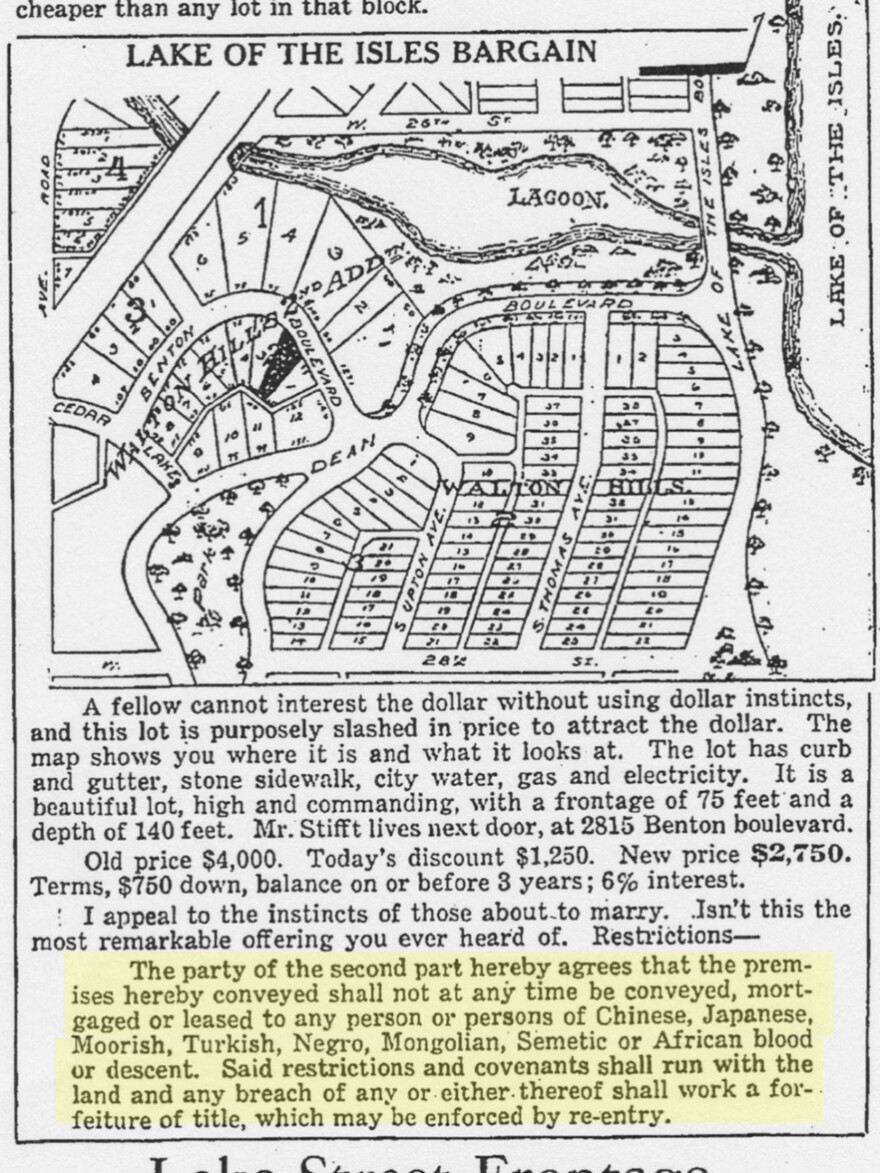 Racial restrictions were advertised by developers, like in this ad placed by Edmund G. Walton in the <em>Minneapolis Morning Tribune</em>, Jan. 12, 1919.