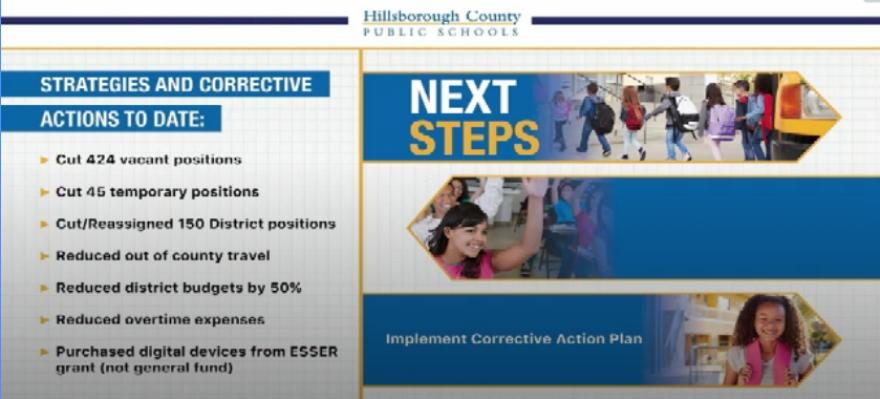 School budget cutback slide