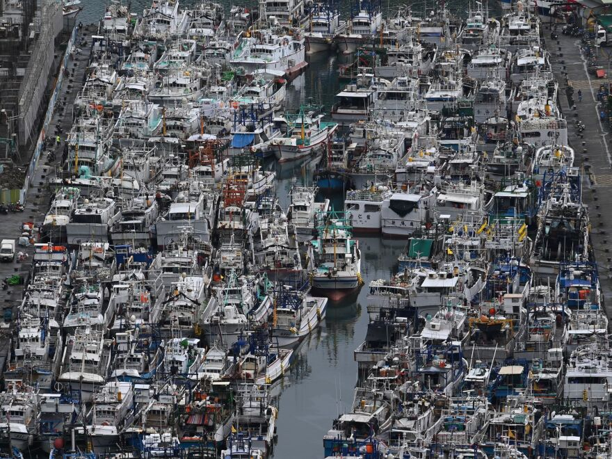 Fishing boats pack into the typhoon shelter at Nanfangao harbour in Suao, Yilan county, as Typhoon Lekima approaches off the shores of eastern Taiwan on Thursday.
