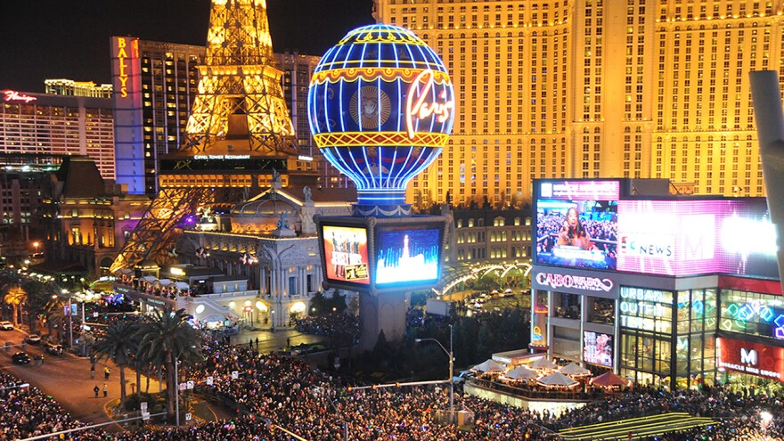 Visitors crowd the Las Vegas Strip to celebrate the new year.
