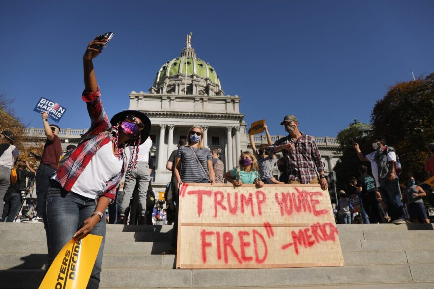 Hundreds of people gather in the state capital of Pennsylvania to display their support for Joe Biden hours after the state was called for Biden on November 07, 2020 in Harrisburg, Pennsylvania.