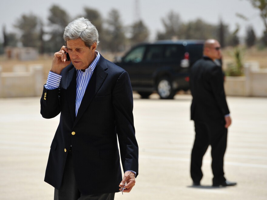 U.S. Secretary of State John Kerry shown before boarding a helicopter to Amman, Jordan, in 2013. A report says that Germany inadvertently eavesdropped on at least one of Kerry's calls in the Middle East.
