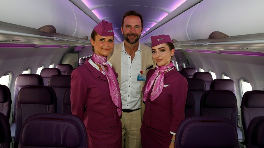Skuli Mogensen, CEO of Wow Air, poses during a delivery ceremony of his airline's first Airbus A321neo, at the Paris Air Show in 2017. The airline abruptly ceased its operations on Thursday.