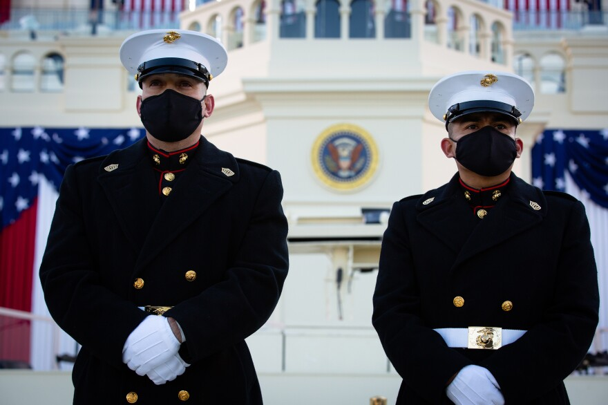 U.S. Marines stand outside the Capitol building on Inauguration Day.
