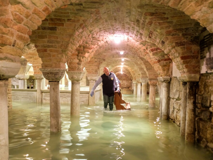 The crypt of St Mark's Basilica was flooded Wednesday. The high tide that has deluged Venice, Italy, created the second-worst case of flooding since the city started keeping official records.